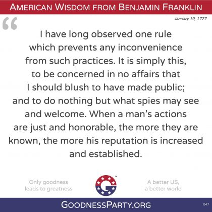 Benjamin Franklin quote do no action for which I would blush if made public