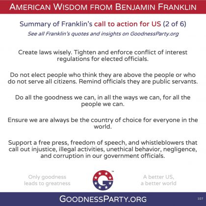 Goodness Party Benjamin Franklin call to action 2 of 6