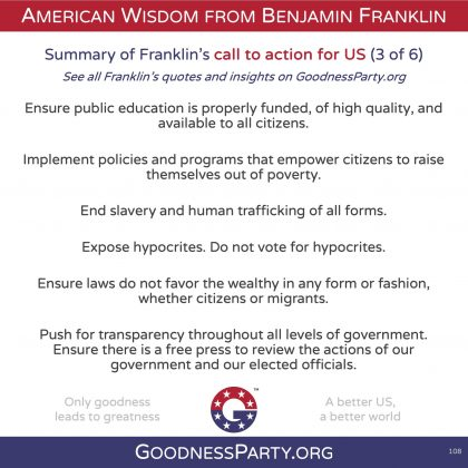 Goodness Party Benjamin Franklin call to action 3 of 6