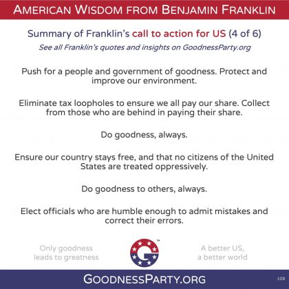 Goodness Party Benjamin Franklin call to action 4 of 6