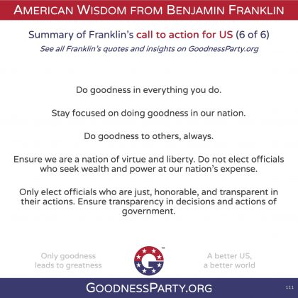 Goodness Party Benjamin Franklin call to action 6 of 6